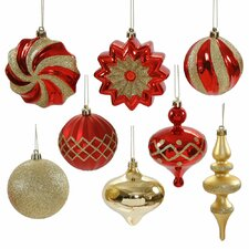 "18ct of Red and Gold Finial Ball Onion and Star Shatterproof Christmas Ornaments 3""- 6"""