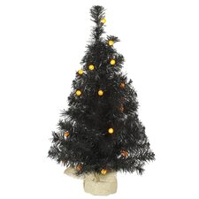 2' Black Pine Artificial Halloween Christmas Tree with Orange LED Lights
