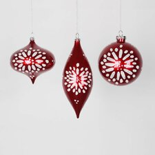 Set of 3 Candy Red and White Glitter Star-Burst Christmas Ornaments 7""