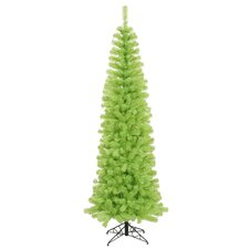 6.5' Chartreuse Green Pencil Artificial Christmas Tree with Green Lights