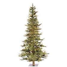 Ashlandi Wood Trunk Tree with Tips An 5' Green Fir Artificial Christmas Tree with 300 Dura-Lit Clear Lights with Stand