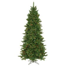 Camdon Fir 8.5' Green Artificial Slim Christmas Tree with 800 Multicolored Lights with Stand