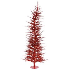 Colorful Laser 3' Red Artificial Christmas Tree with 50 Mini Clear Lights with Stand
