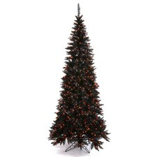 10' Black Slim Fir Christmas Tree with 900 LED Orange Lights