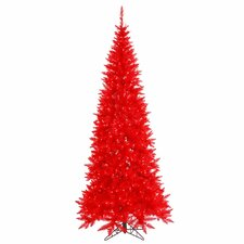 10' Red Slim Fir Christmas Tree with 900 LED Red Lights