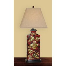 "Rectangular Fan Art 26"" H Table Lamp with Square Shade"