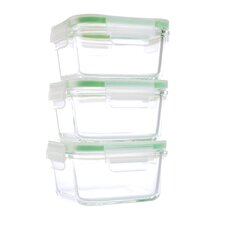 6-Piece Square GoGreen Glassworks Oven Safe Glass Food Storage Container Set