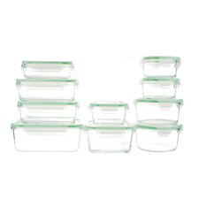 GoGreen Glassworks 20 Piece Oven Safe Glass Food Storage Container Set with Lid
