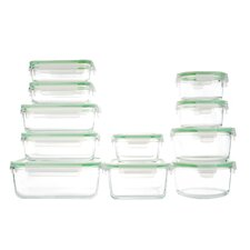 GoGreen Glassworks 22 Piece Oven Safe Glass Food Storage Container Set with Lid