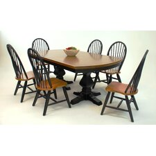 Riverside Double Pedestal Table Top in Black and Whiskey
