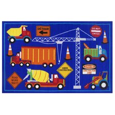 Fun Time Men At Work Blue Area Rug