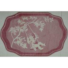 Supreme Pink Toile Red/White Area Rug