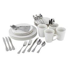 Satin Weave Service for 4  Dinnerware/Flatware Set
