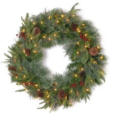 Colonial Pre-Lit Feel-Real Colonial Wreath with 50 Clear Lights