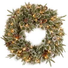 Liberty Pine Wreath with Snow Pinecones with 50 Clear Lights