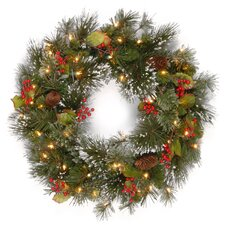 Wintry Pine Wreath with Pinecones, Berries, Snowflakes & 50 Clear Lights