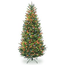 Natural Fraser 7.5' Green Fir Slim Artificial Christmas Tree with 750 Colored Lights