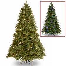 "Douglas ""Feel Real"" Down Swept 7.5' Hinged Green Fir Artificial Christmas Tree and 750 Dual LED with Stand"
