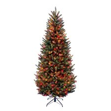 Natural Fraser 7.5' Green Slim Fir Artificial Christmas Tree with 600 Pre-Lit Multi-Colored Lights with Stand