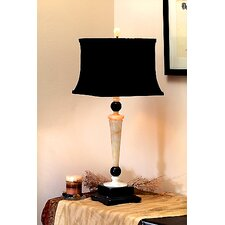 "Cream and Black 32.5"" H Table Lamp with Square Shade"