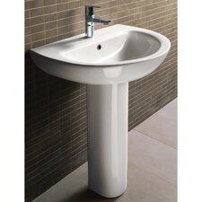 City Modern Curved Pedestal Sink
