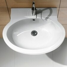 Panorama Trendy Oval-Shaped Ceramic Wall Mounted Bathroom Sink