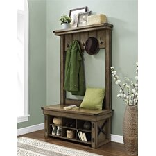 Wildwood Wood Veneer Entryway Hall Tree with Storage Bench