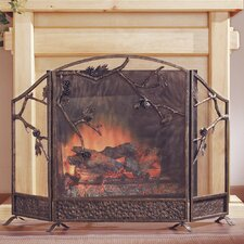 Pinecone 3 Panel Cast Iron Fireplace Screen