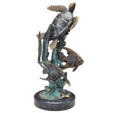 Turtle with Fish Figurine