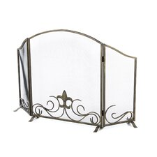 Fleur de Lis 3 Panel Iron Fireplace Screen