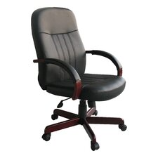 High-Back Leather Executive Chair with Hardwood Arms