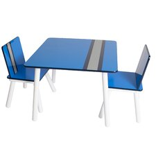 Classically Cool Racing Stripes Kids 3 Piece Table & Chair Set