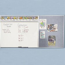 Combo-Rite Porcelain/Gray Vinyl Modular Type D Reverse DL Combination Magnetic Whiteboard