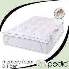 """Memory Plus Deluxe Memory Foam and Fiber 3"""" Mattress Topper"""