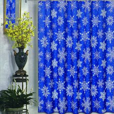 Snow Flakes Fabric Holiday Shower Curtain