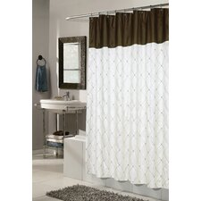 Diamond Patterned Embroidered Shower Curtain