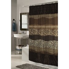 Animal Instincts Felina Faux Fur Trimmed Shower Curtain