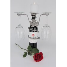 Grapevine Design 2 Stem Wine Bottle Pillar Candleholder