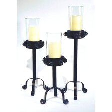Wild Rose 3 Piece Iron Candlestick Set (Set of 3)