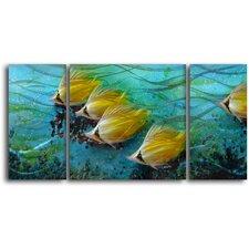 'Just Keep Swimming' 3 Piece Original Painting Plaque Set