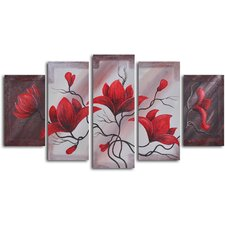 'Weathering Red Vine' 5 Piece Original Painting on Wrapped Canvas Set