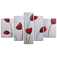 Red Flimsy Poppies 5 Piece Painting Print on Canvas Set