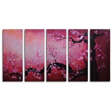 Cochineal Black Trunked Cherry 5 Piece Painting Print on Wrapped Canvas Set