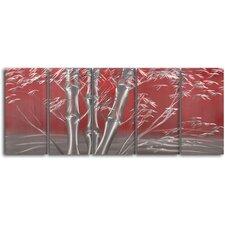Metallic Bamboo 5 Piece Original Painting Plaque Set