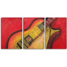 Rouged Six String Guitar 3 Piece Original Painting on Wrapped Canvas Set