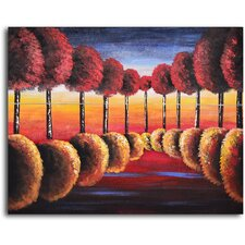 Red to Gold Reflections Original Painting on Wrapped Canvas