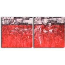 'Seeing Red and Black' 2 Piece Original Painting on Wrapped Canvas Set