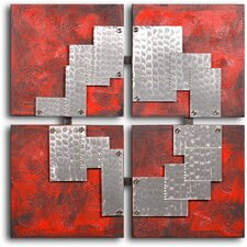 'Tin Pieces on Red' Original Painting on Wrapped Canvas
