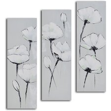 'White on White Poppies' 3 Piece Original Painting on Wrapped Canvas Set