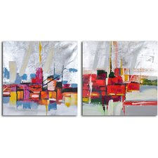 'Reflections by Wharf Abstract' 2 Piece Original Painting on Wrapped Canvas Set